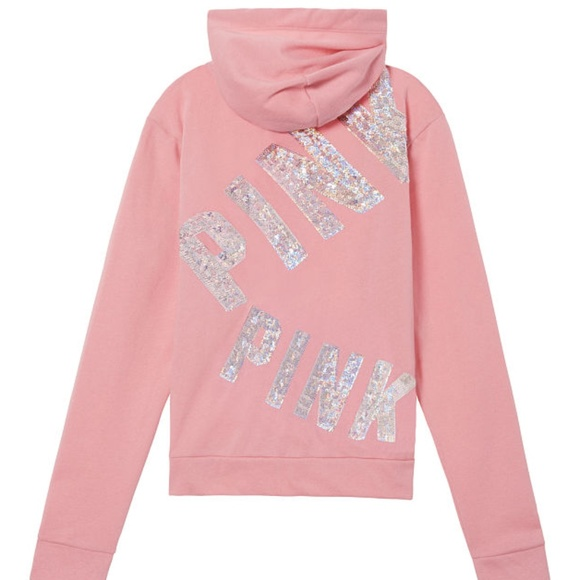 0ff43180f4d98 New PINK Victoria Secret Bling full zip hoodie M NWT